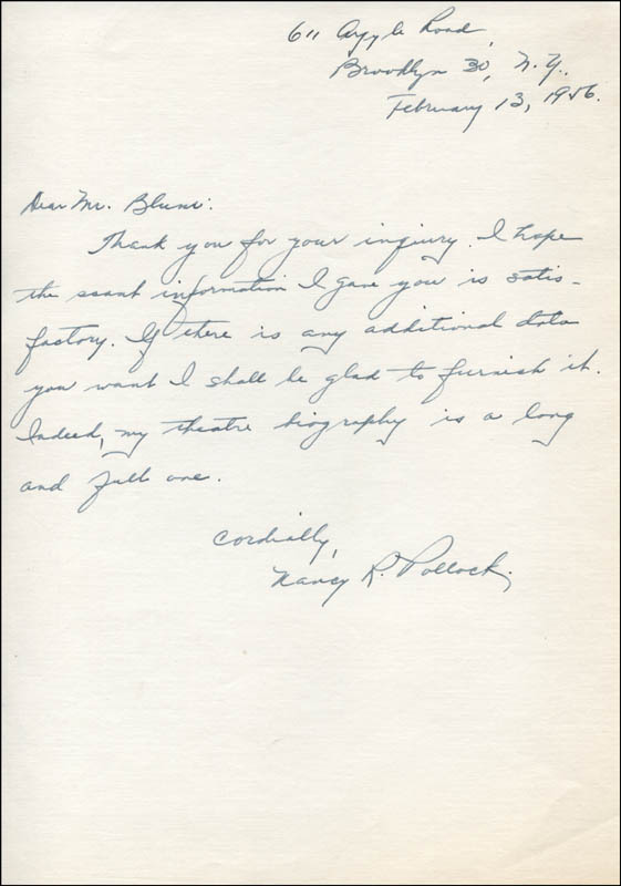 Image 1 for Nancy R. Pollock - Autograph Letter Signed 02/13/1956 - HFSID 315822