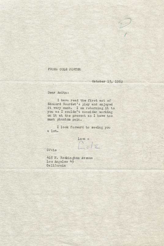 Image 1 for Cole Porter - Typed Letter Signed 10/13/1962 - HFSID 31593