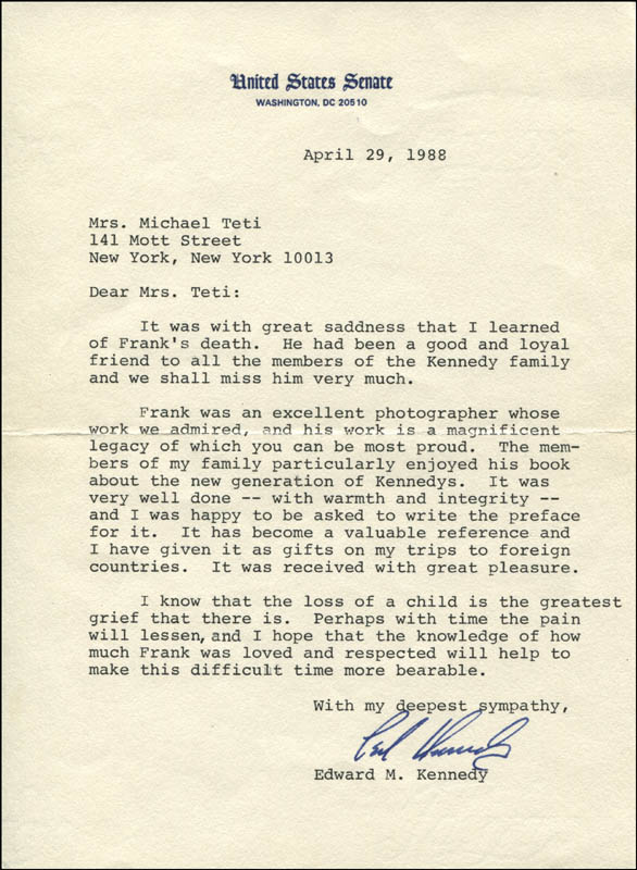 Image 1 for Edward 'Ted' Kennedy - Typed Letter Signed 04/29/1988 - HFSID 315993