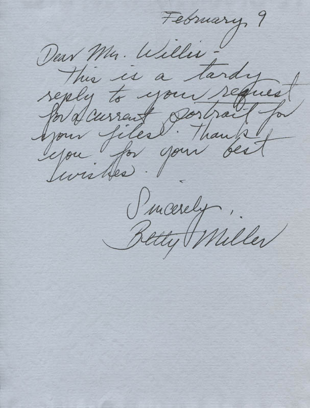 Image 1 for Betty Miller - Autograph Letter Signed 02/09 - HFSID 316245