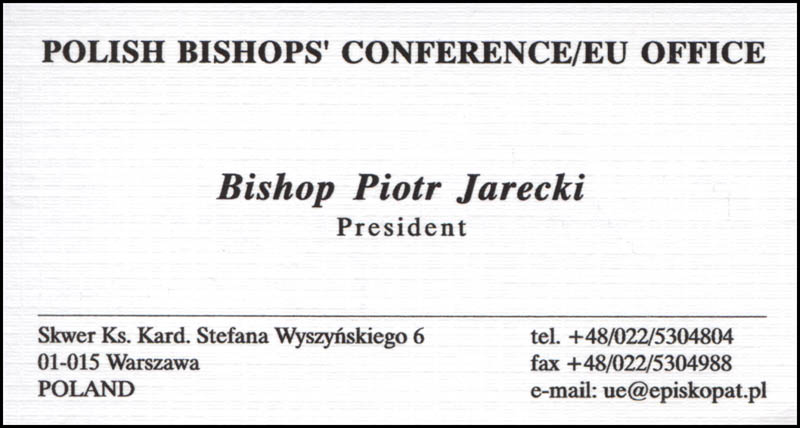 Image 3 for Bishop Piotr Jarecki - Business Card Signed - HFSID 316494
