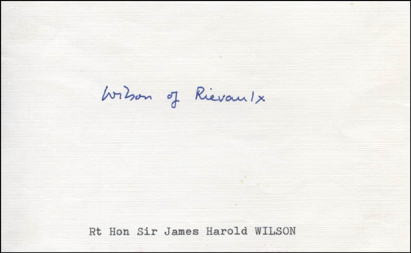 Image 1 for Prime Minister Harold Wilson (Great Britain) - Autograph - HFSID 316719