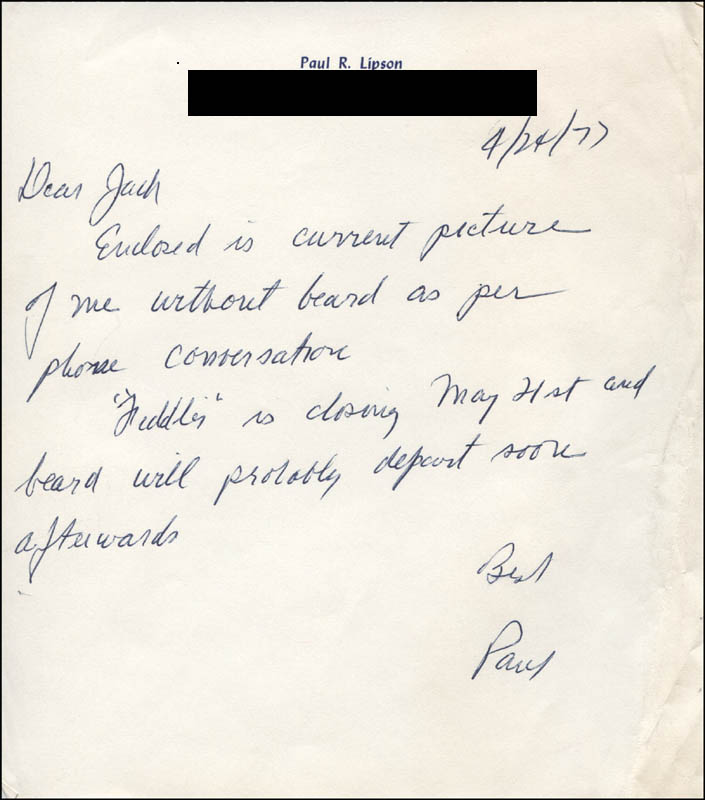 Image 1 for Paul Lipson - Autograph Letter Signed 04/24/1977 - HFSID 316753