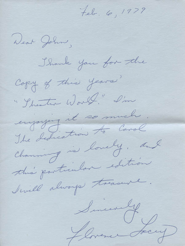 Image 1 for Florence Lacey - Autograph Letter Signed 02/06/1979 - HFSID 316759