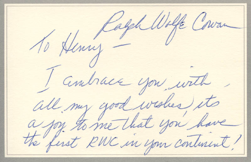 Image 1 for Ralph Wolfe Cowan - Autograph Note Signed - HFSID 316873