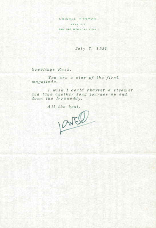 Image 1 for Lowell Thomas - Typed Letter Signed 07/07/1981 - HFSID 31693