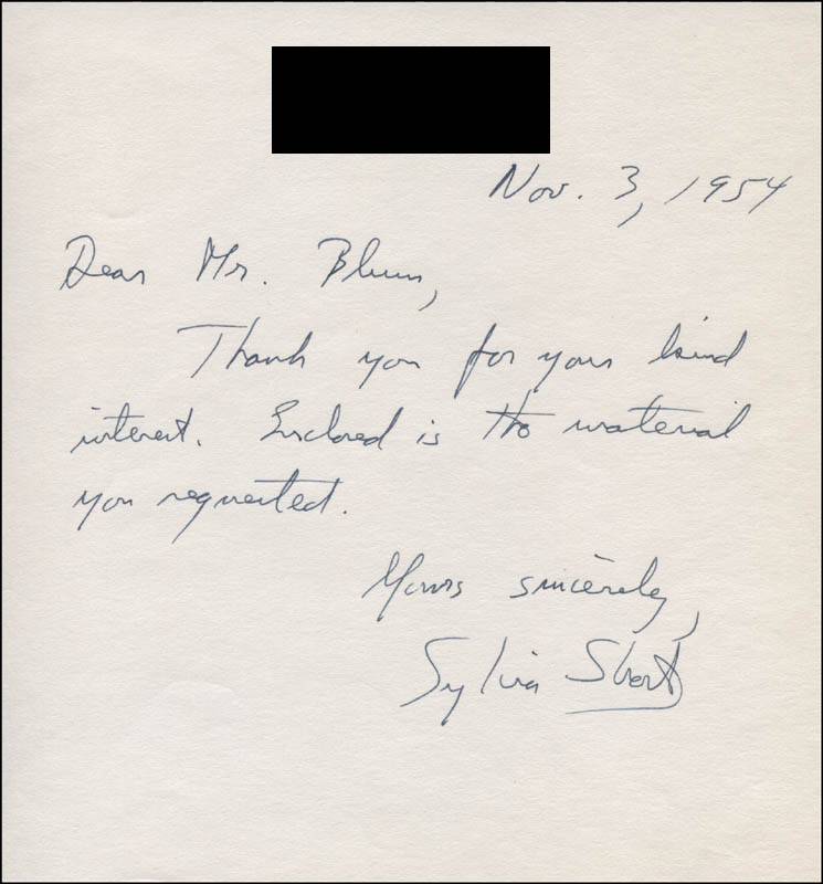 Image 1 for Sylvia Short - Autograph Note Signed 11/03/1954 - HFSID 317071