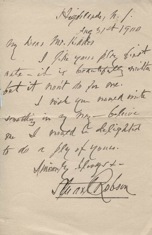 Image 1 for Stuart Robson - Autograph Letter Signed 08/31/1900 - HFSID 317188