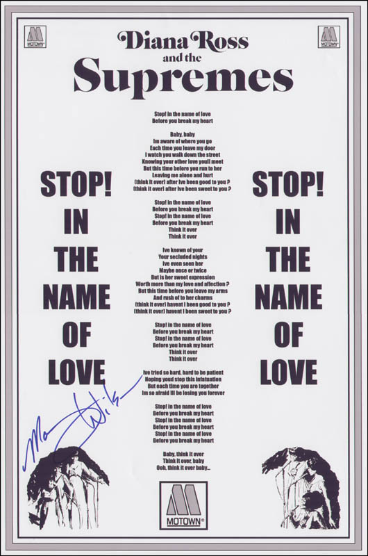 The Supremes (Mary Wilson) - Autographed Signed Poster