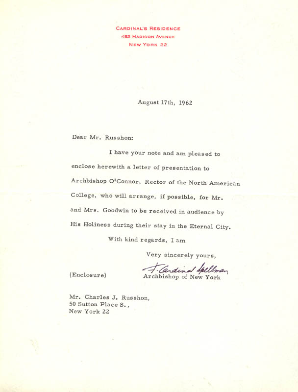 Image 1 for Francis Cardinal Spellman - Typed Letter Signed 08/17/1962 - HFSID 31727