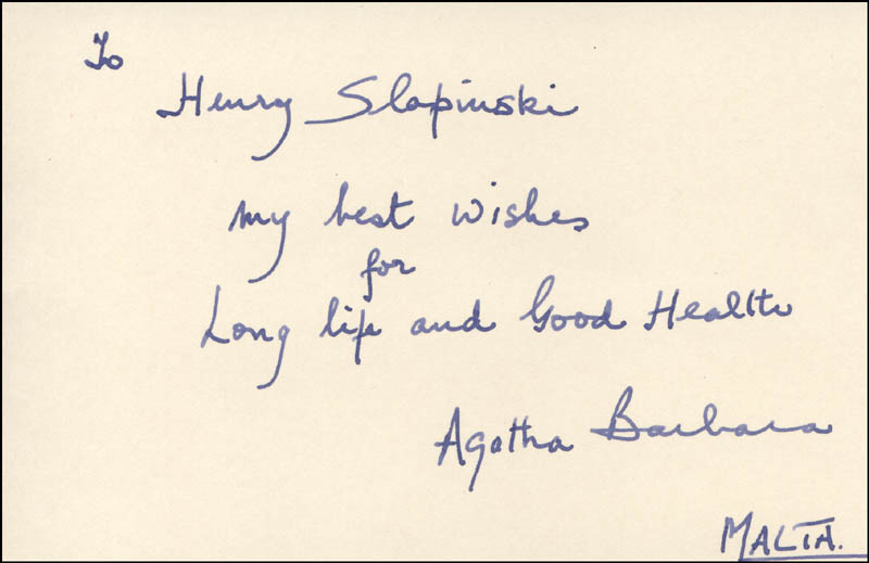Image 1 for President Agatha Barbara (Malta) - Autograph Note Signed - HFSID 317314