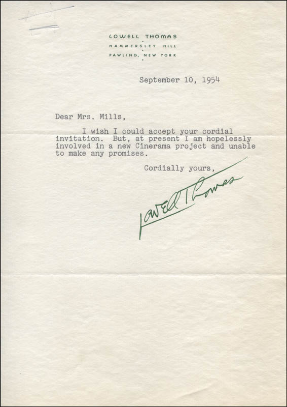 Image 1 for Lowell Thomas - Typed Letter Signed 09/10/1954 - HFSID 317327