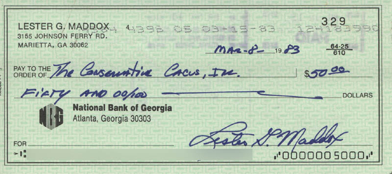 Image 1 for Governor Lester G. Maddox - Autographed Signed Check 03/08/1983 - HFSID 317479