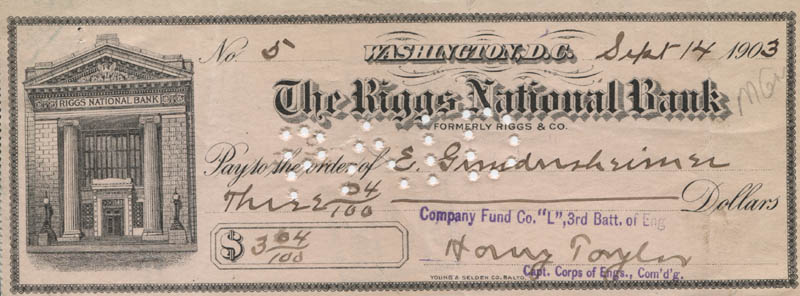 Image 1 for Major General Harry Taylor - Autographed Signed Check 09/14/1903 - HFSID 317482