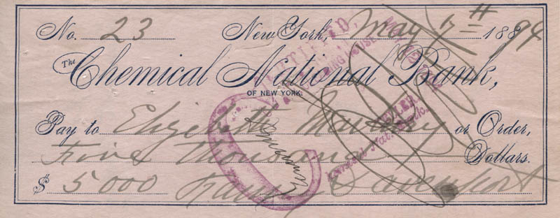 Image 1 for Fanny Davenport - Autographed Signed Check 05/07/1894 co-signed by: Elisabeth Marbury - HFSID 317618
