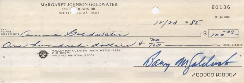 Image 1 for Barry Goldwater - Autographed Signed Check 12/23/1985 - HFSID 317625