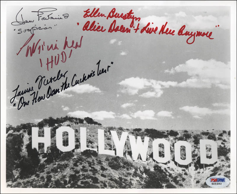 Image 1 for Joan Fontaine - Autographed Signed Photograph co-signed by: Ellen Burstyn, Patricia Neal, Louise Fletcher - HFSID 317640