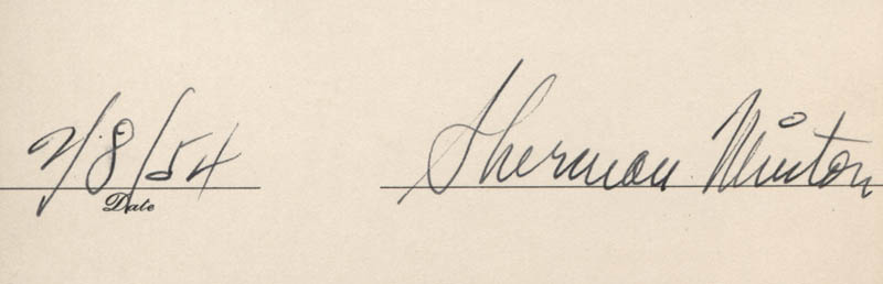 Image 1 for Associate Justice Sherman Minton - Autograph 02/08/1954 - HFSID 318052