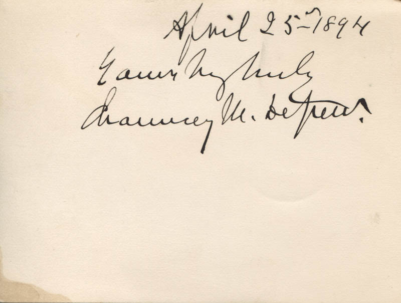 Image 1 for Chauncey M. Depew - Autograph Sentiment Signed 04/25/1894 - HFSID 318167