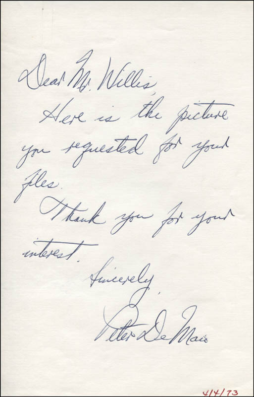 Image 1 for Peter Demaio - Autograph Letter Signed - HFSID 318287