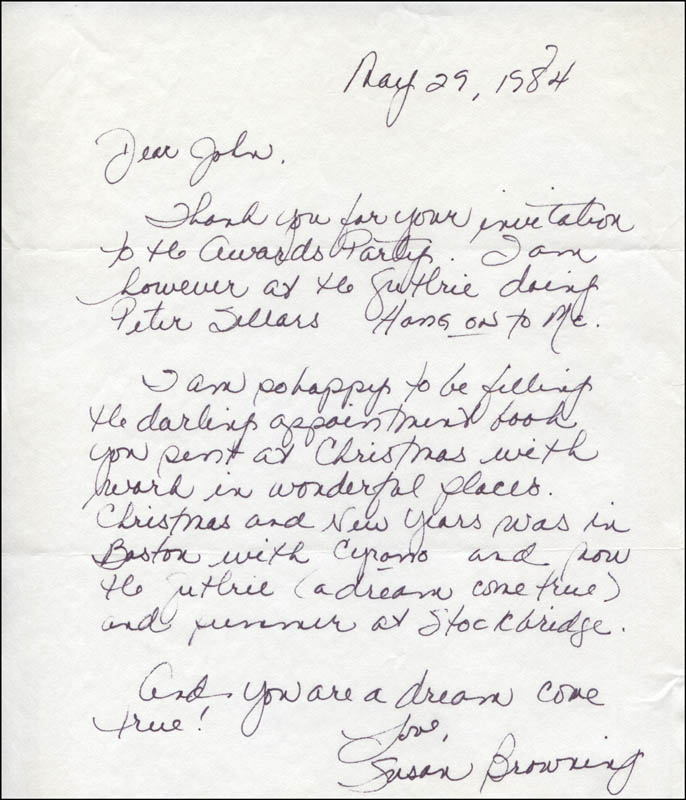 Image 1 for Susan Browning - Autograph Letter Signed 05/29/1984 - HFSID 318316