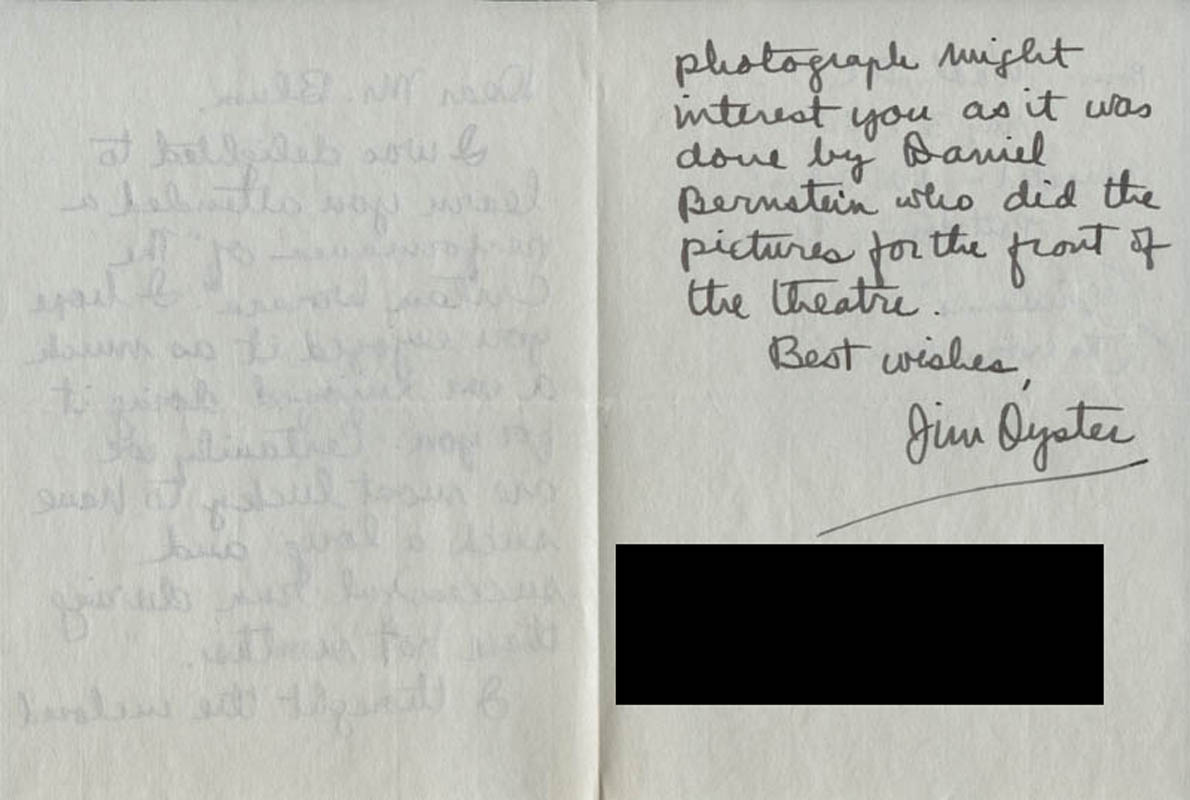 Image 1 for Jim Oyster - Autograph Letter Signed Circa 1954 - HFSID 318440