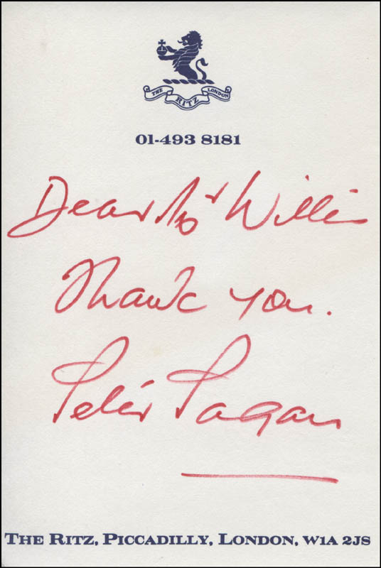 Image 1 for Peter Pagan - Autograph Note Signed - HFSID 318757