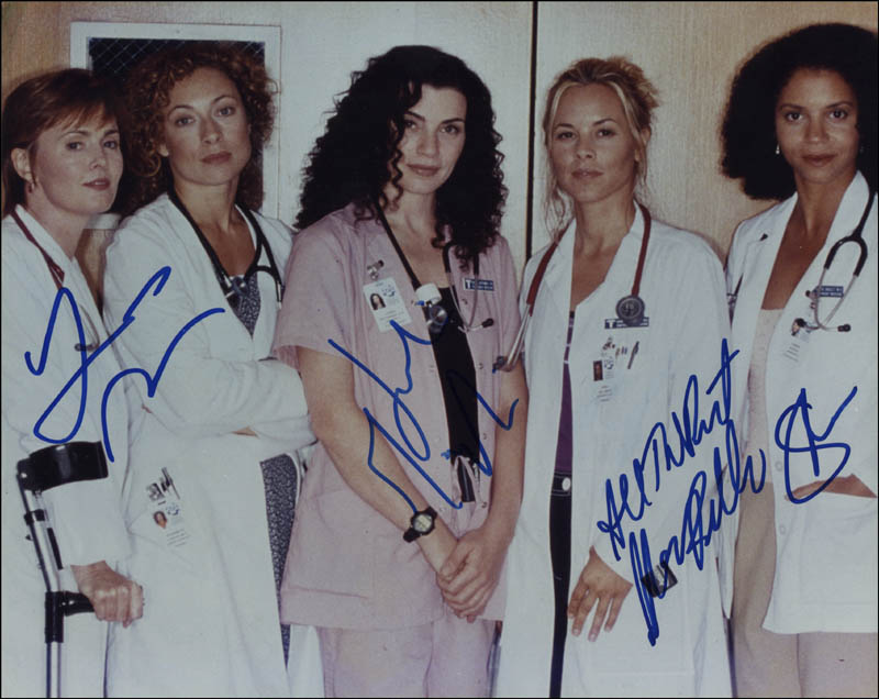 Image 1 for E/R TV Cast - Autographed Signed Photograph co-signed by: Julianna Margulies, Gloria Reuben, Laura Innes, Maria Bello - HFSID 319876