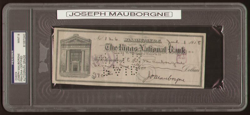 Image 1 for Major General Joseph O. Mauborgne - Autographed Signed Check 07/01/1918 - HFSID 320026