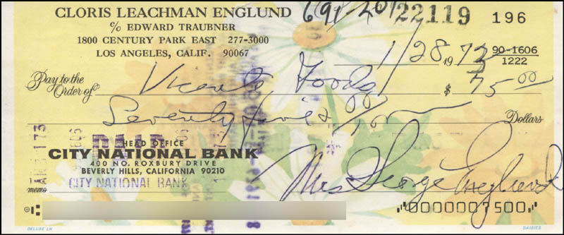Image 1 for Cloris Leachman - Autographed Signed Check 01/28/1973 - HFSID 320065