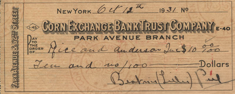 Image 1 for Beatrice Lillie - Autographed Signed Check 10/12/1931 - HFSID 320067