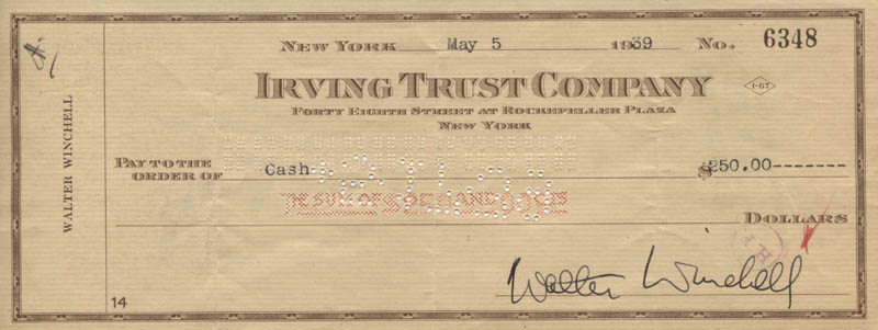 Image 1 for Walter 'King Of Broadway' Winchell - Autographed Signed Check 05/05/1939 - HFSID 320098