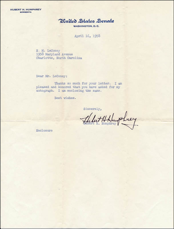 Image 1 for Vice President Hubert H. Humphrey - Typed Letter Signed 04/16/1958 - HFSID 320357