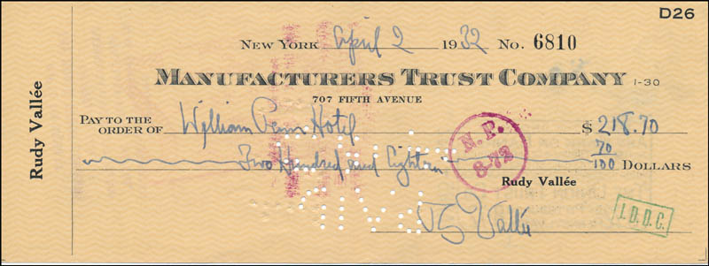 Image 1 for Rudy Vallee - Autographed Signed Check 04/02/1932 - HFSID 320433