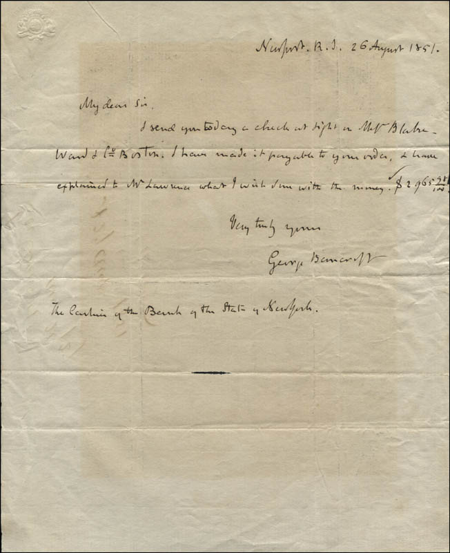 Image 1 for George Bancroft - Autograph Letter Signed 08/26/1851 - HFSID 320482