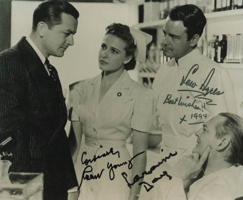 Image 1 for Dr. Kildare'S Crisis Movie Cast - Autographed Signed Photograph 1994 co-signed by: Robert Young, Lew Ayres, Laraine Day - HFSID 320673