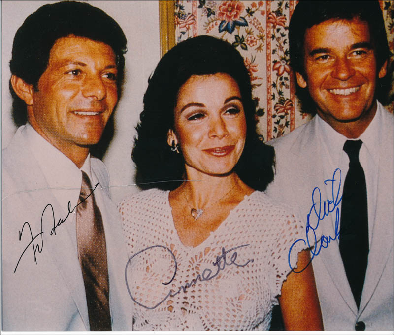 Image 1 for Dick Clark - Autographed Signed Photograph co-signed by: Annette Funicello, Frankie Avalon - HFSID 320684