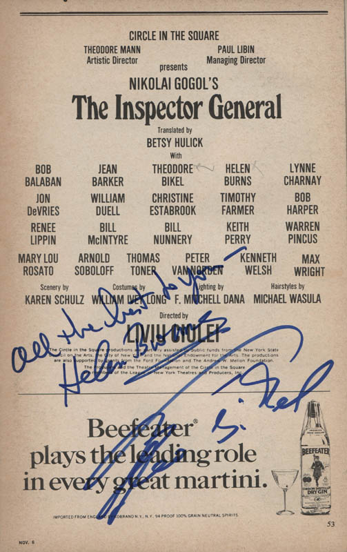 Image 1 for The Inspector General Play Cast - Show Bill Signed co-signed by: Theodore Bikel, Helen Burns - HFSID 320699