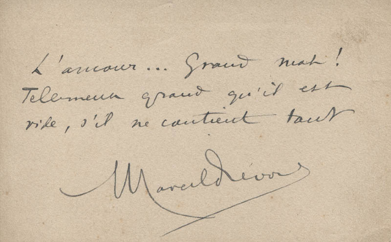 Image 1 for Marcel Prévost - Autograph Quotation Signed - HFSID 320761