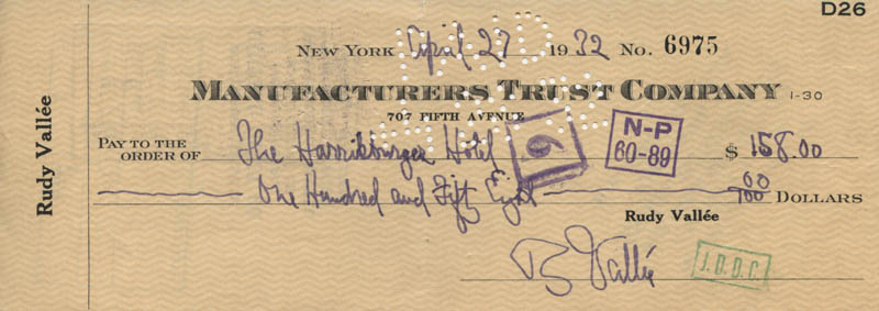 Image 1 for Rudy Vallee - Autographed Signed Check 04/27/1932 - HFSID 320771
