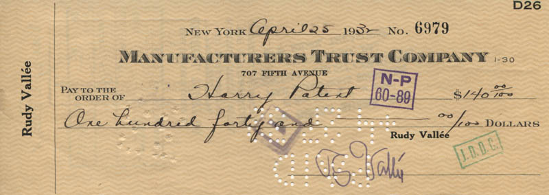 Image 1 for Rudy Vallee - Autographed Signed Check 04/25/1932 - HFSID 320776