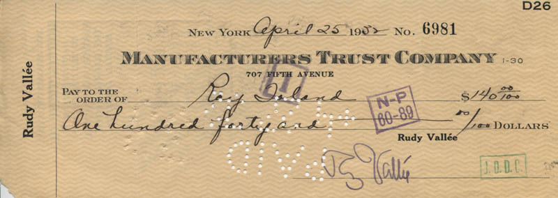 Image 1 for Rudy Vallee - Autographed Signed Check 04/25/1932 co-signed by: Ray S. Toland - HFSID 320777