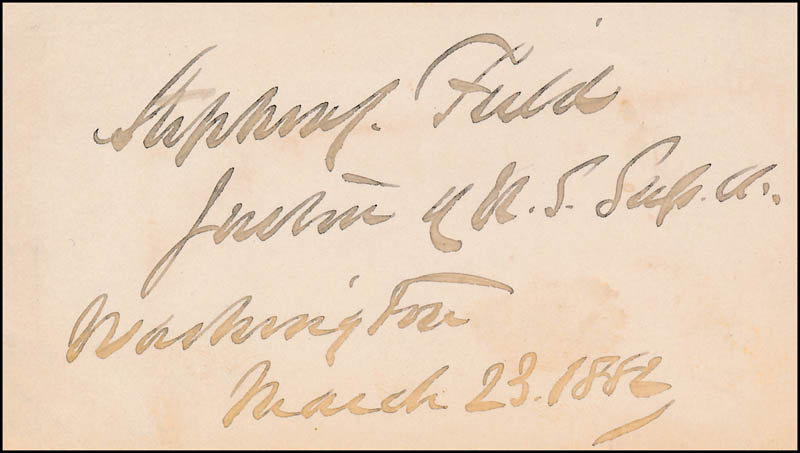 Image 1 for Associate Justice Stephen J. Field - Autograph 03/23/1886 - HFSID 320799