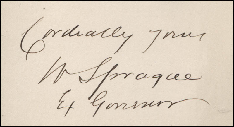 Image 1 for General William Sprague - Autograph Sentiment Signed - HFSID 320816