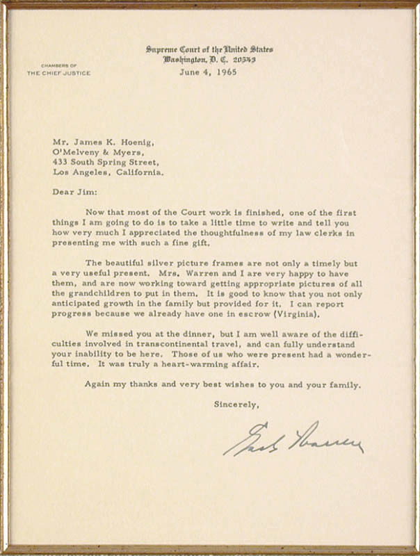 Image 3 for Chief Justice Earl Warren - Typed Letter Signed 06/04/1965 - HFSID 32106