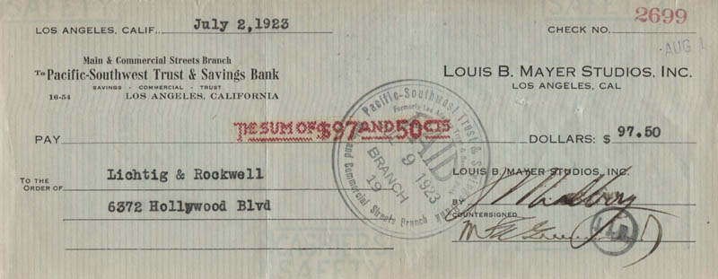Image 1 for Irving Thalberg - Autographed Signed Check 07/02/1923 co-signed by: M.E. Greenwood - HFSID 321082