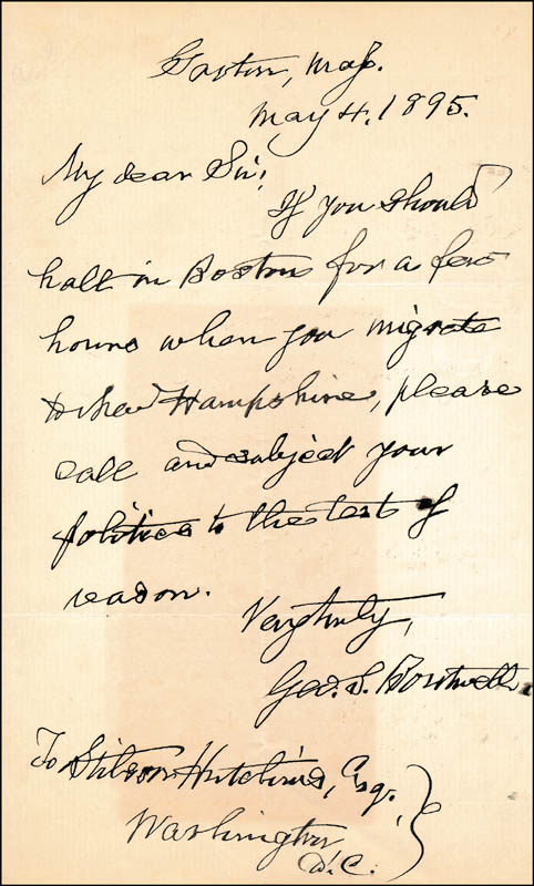 Image 1 for George S. Boutwell - Autograph Letter Signed 05/04/1895 - HFSID 321193