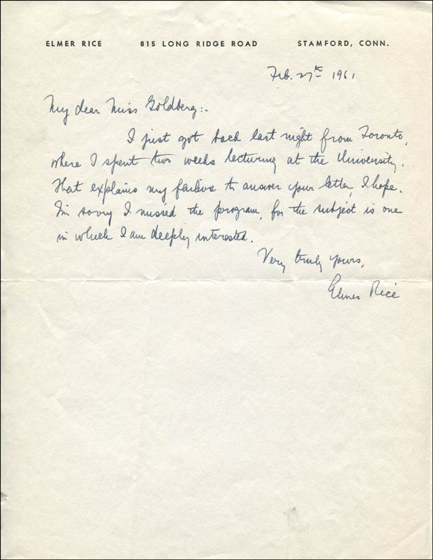 Image 1 for Elmer Rice - Autograph Letter Signed 02/27/1961 - HFSID 321223