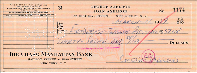 Image 1 for George Axelrod - Autographed Signed Check 03/11/1959 - HFSID 321243
