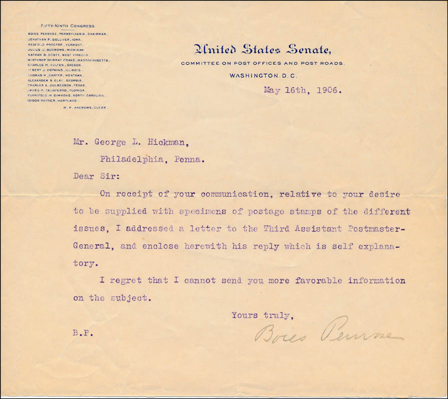Image 1 for Boies Penrose - Typed Letter Signed 05/16/1906 - HFSID 321277